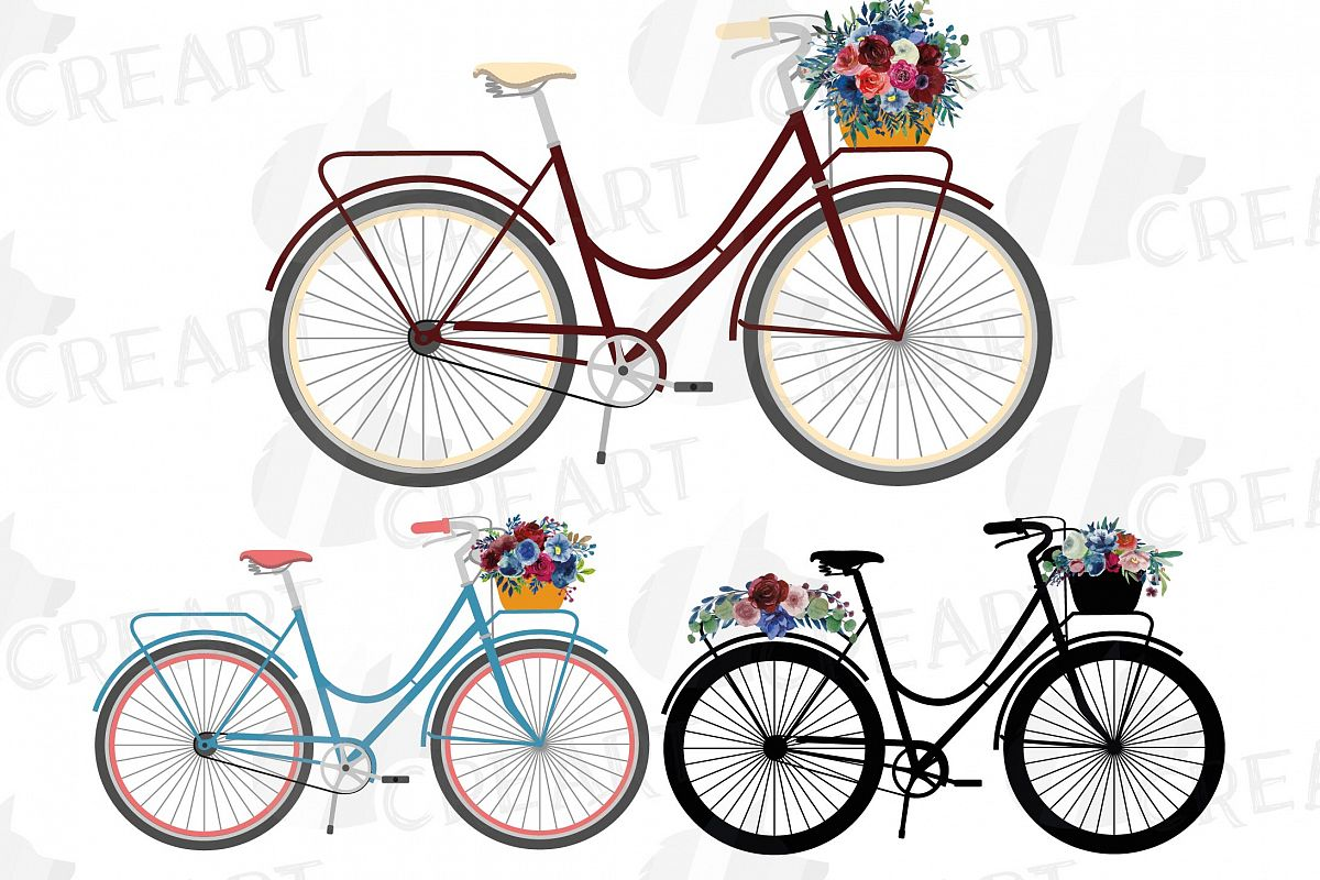 Floral bicycles with watercolor bouquets decoration clip art example image 1