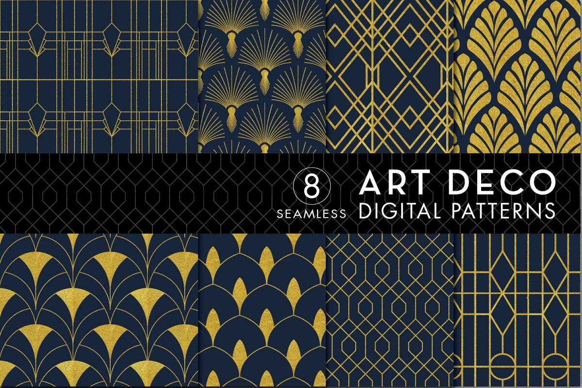 8 Seamless Art Deco Patterns - Gold & Navy Blue - Set 3 example image 1