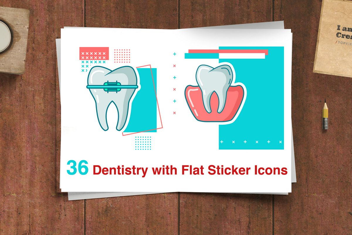 Dentistry with Flat Sticker Icons example image 1