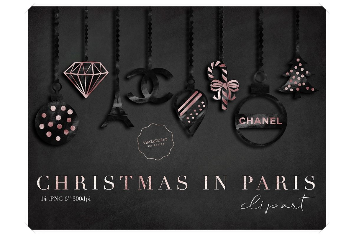 Chanel Christmas Ornaments.Christmas Ornaments Clipart Rose Gold