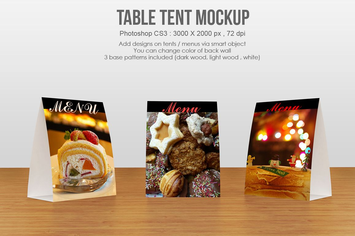 table tent menu mockup