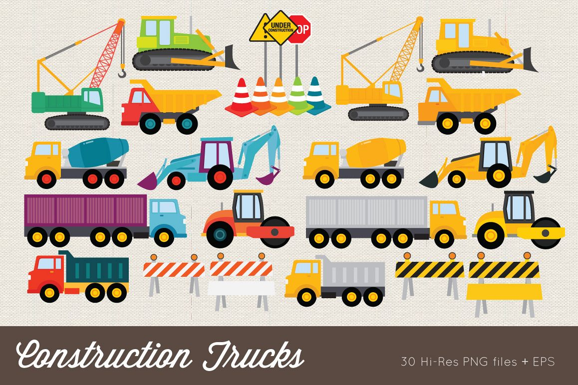 Construction Trucks Clip Art example image 1