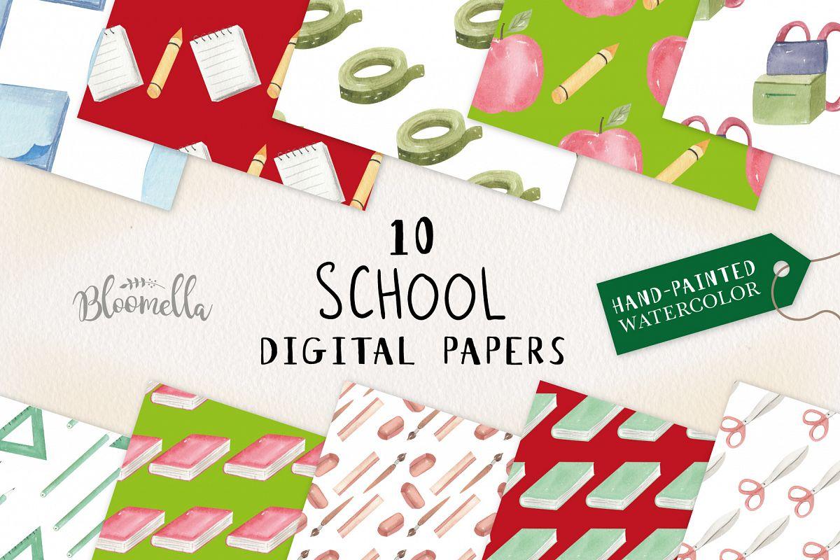 School Books Apple Pens Seamless Patterns Digital Papers Fun example image 1