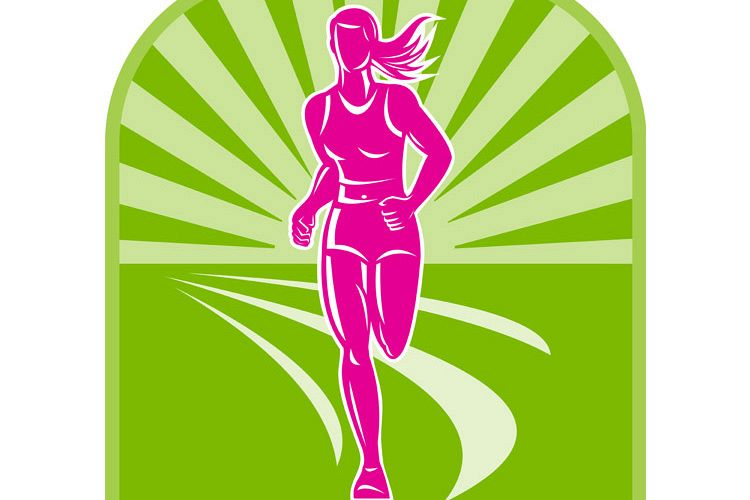 female marathon runner front view example image 1