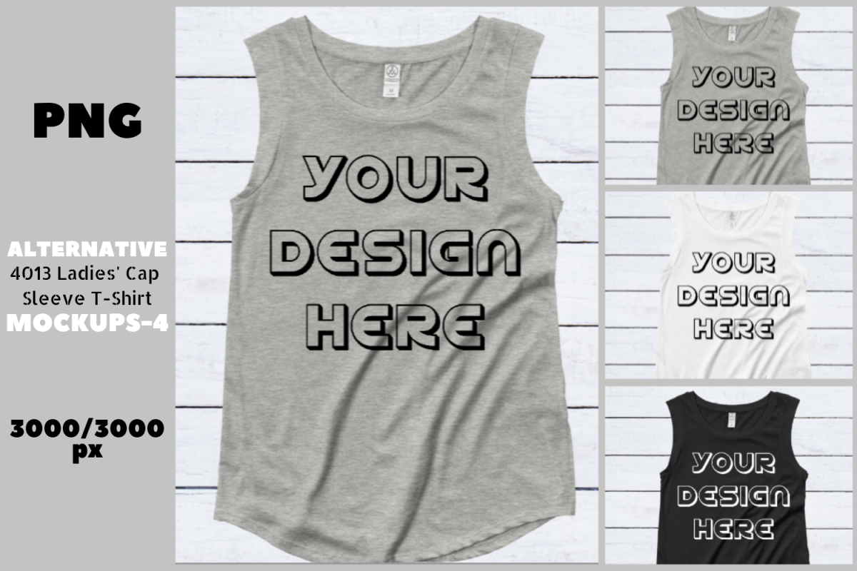 Alternative 4013 Ladies' Cap Sleeve Flat T-Shirt Mockups - 6 example image 1
