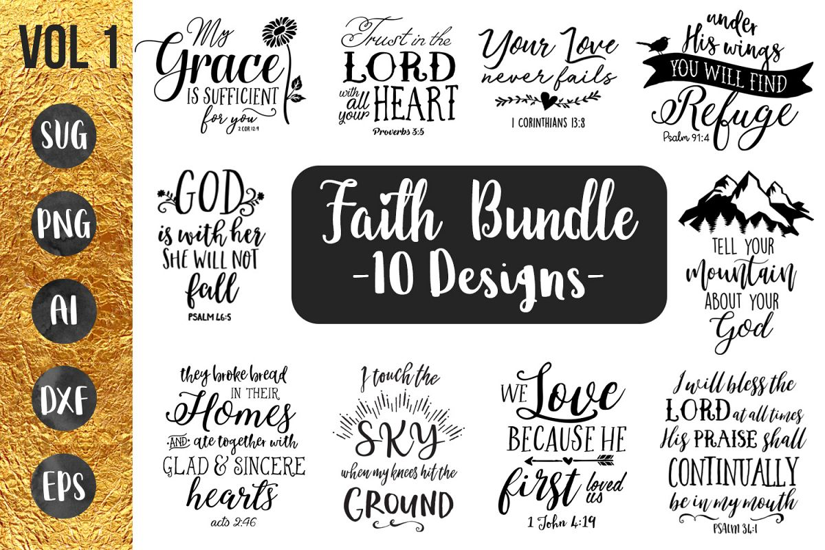 FAITH BUNDLE - 10 designs - svg cut files cricut silhouette example image 1