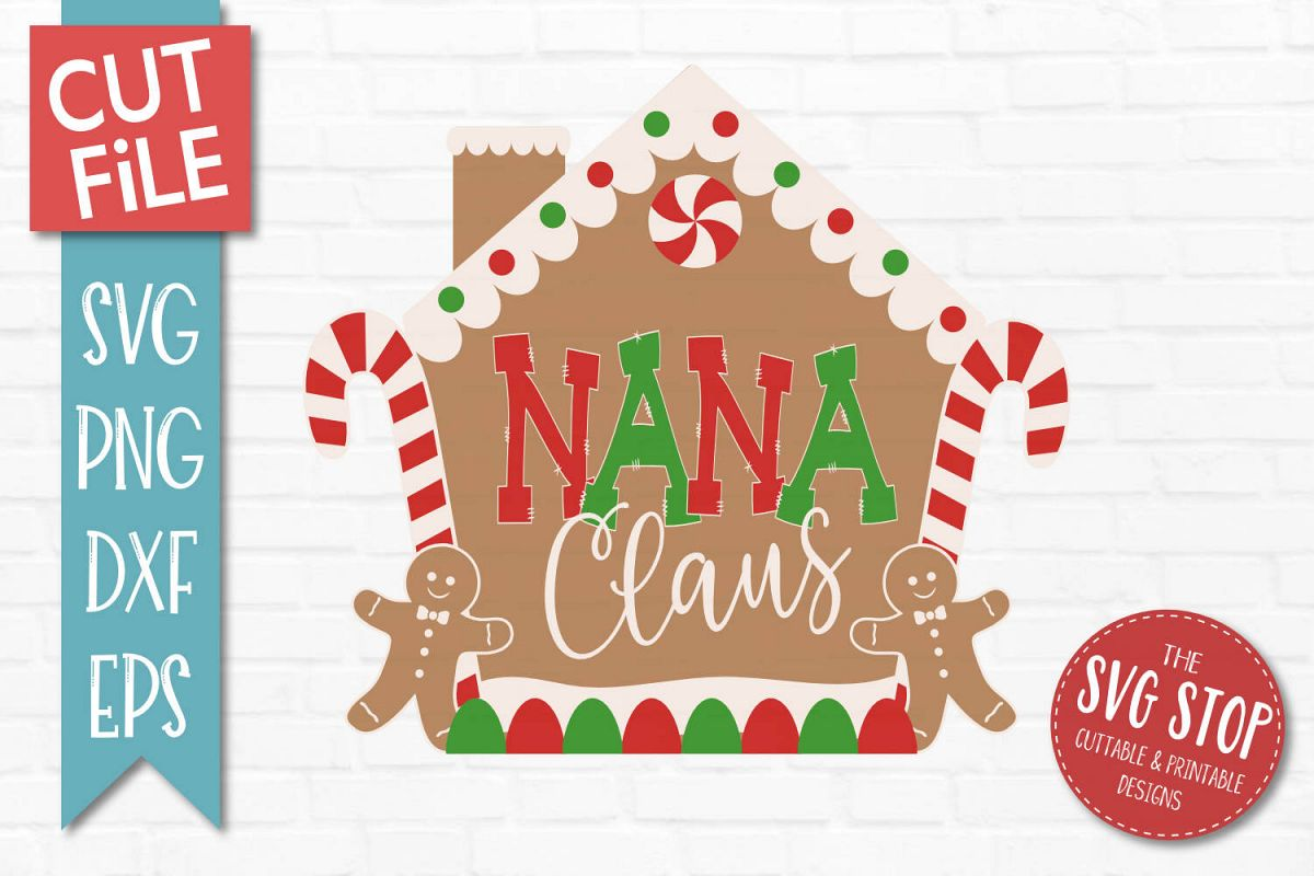 Nana Claus Gingerbread Christmas SVG, PNG, DXF, EPS example image 1