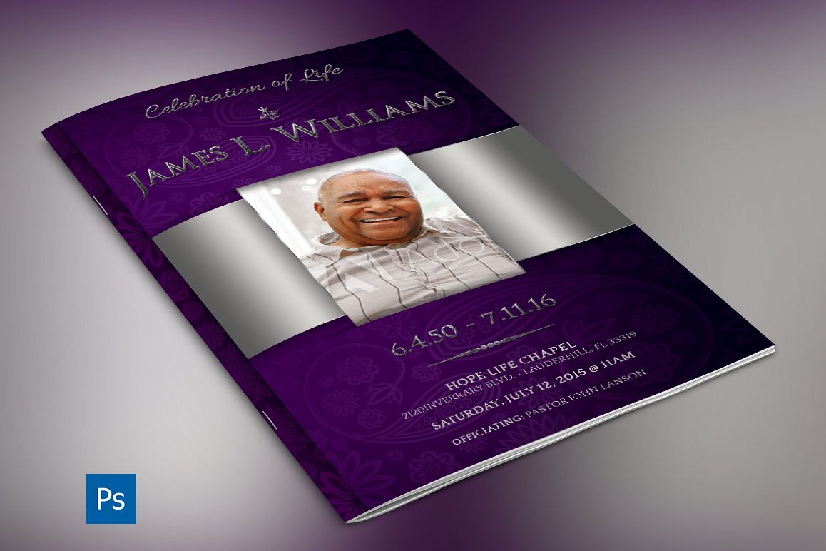 Lavender Dignity Funeral Program Template example image 1