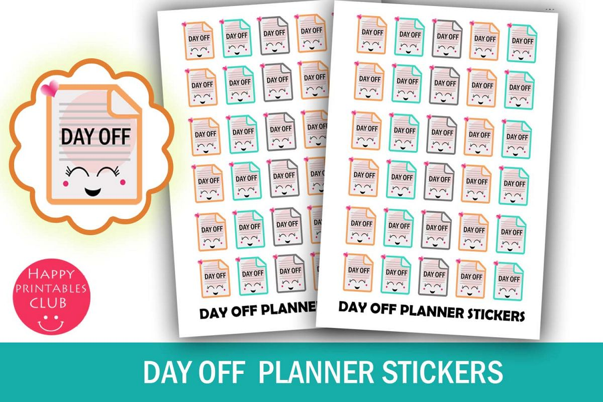 Day Off Planner Stickers- Day Off Reminder Stickers- Kawaii example image 1