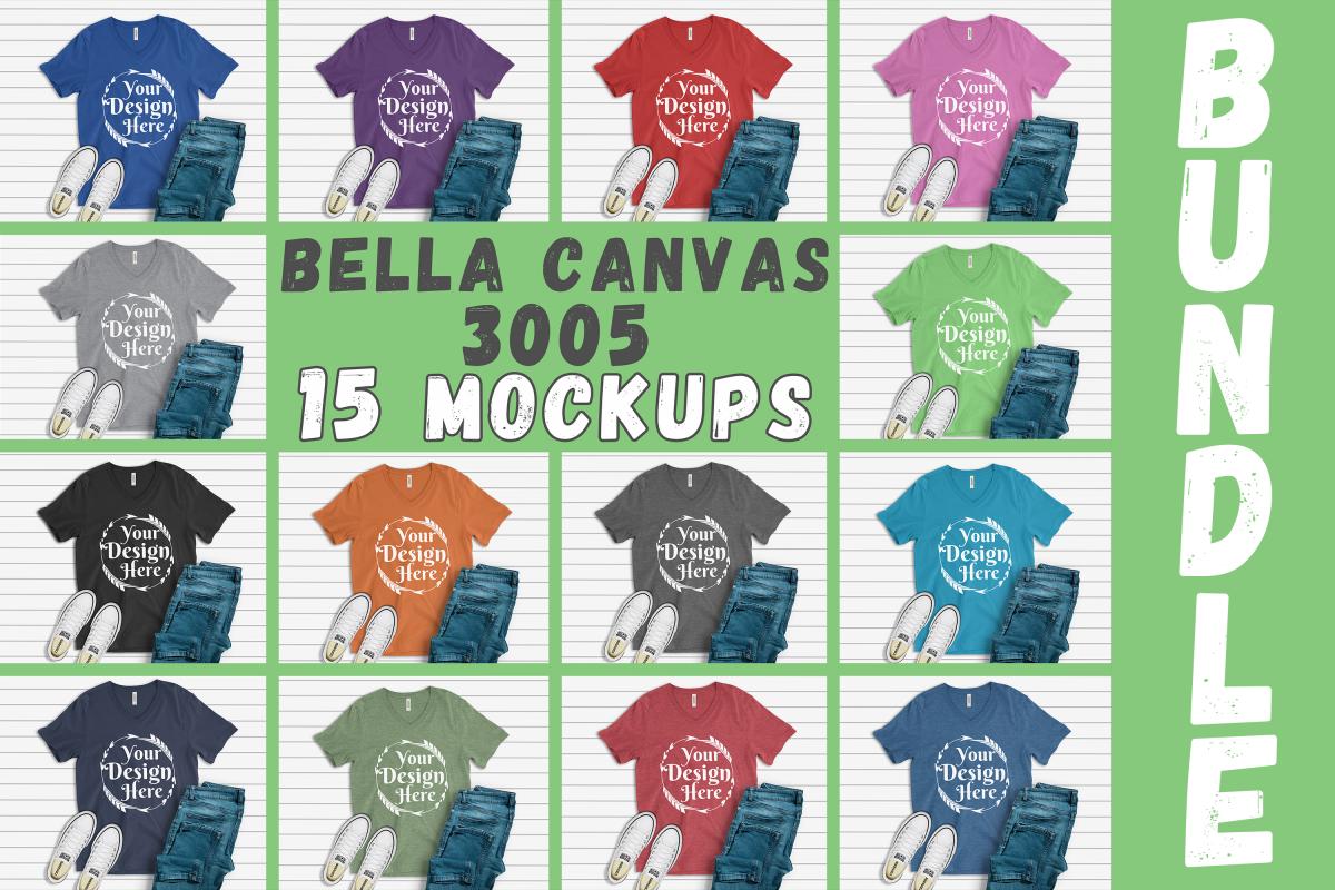 MEGA BUNDLE 15 Mockups Bella Canvas 3005 V-neck Unisex example image 1