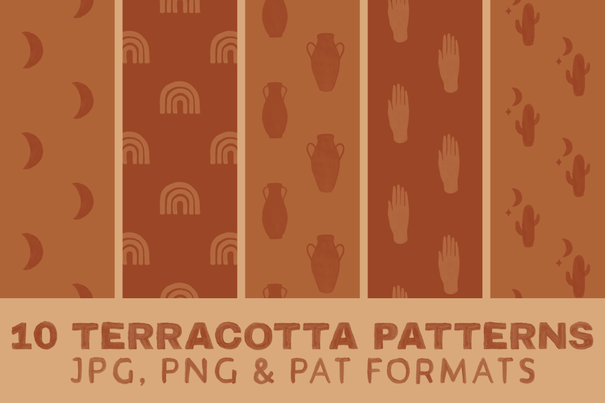 Terracotta Boho Digital Paper - Seamless Pattern Mystic example image 1