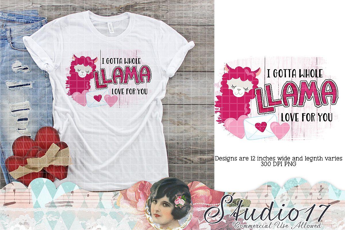 Llama Love Valentine Sublimation Design example image 1