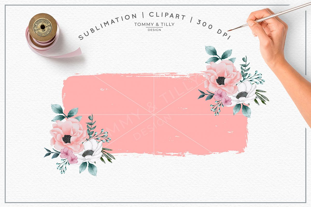 Pink Floral Background No 1 Sublimation Png Clipart