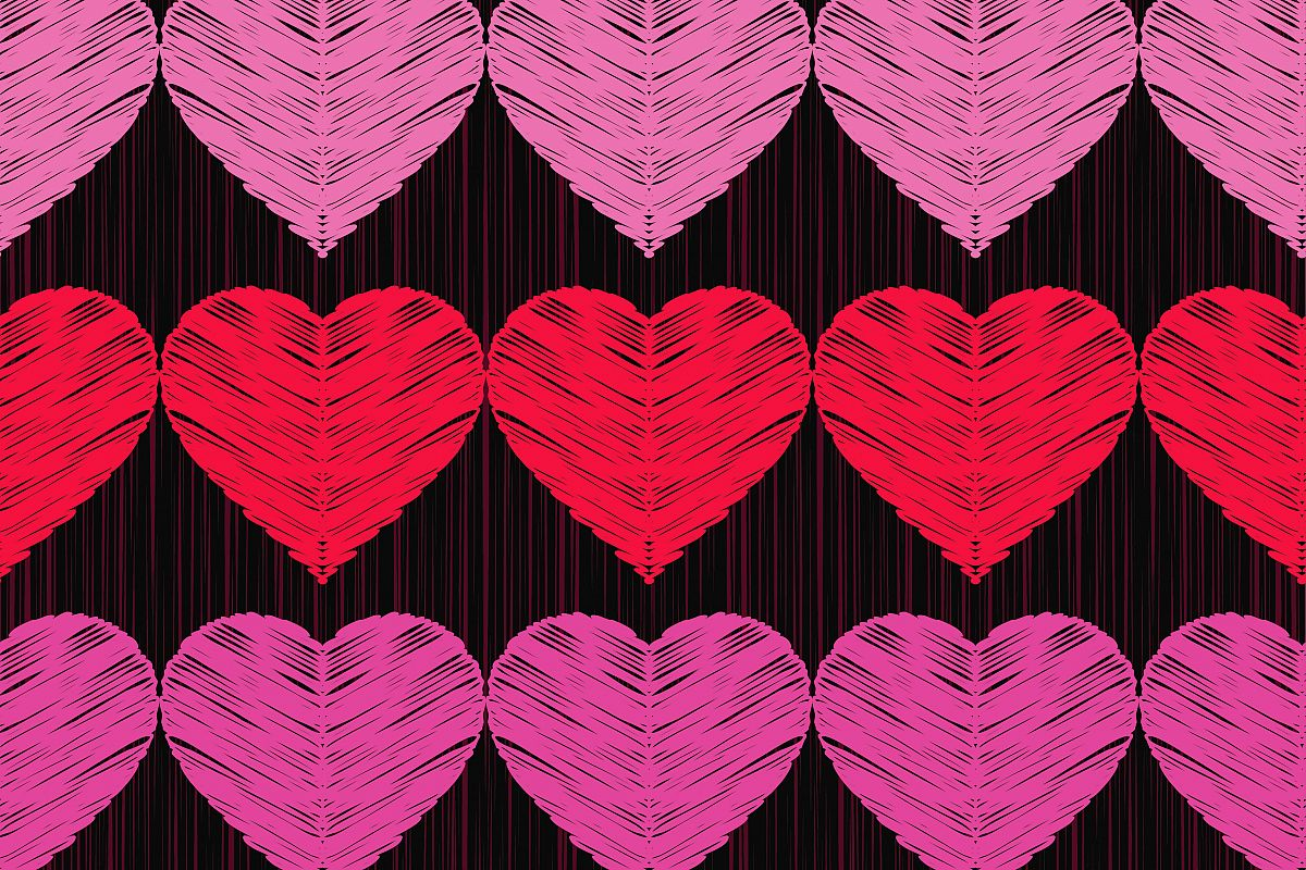 Seamless vector background with decorative hearts. Valentine's day. Textile rapport.  example image 1