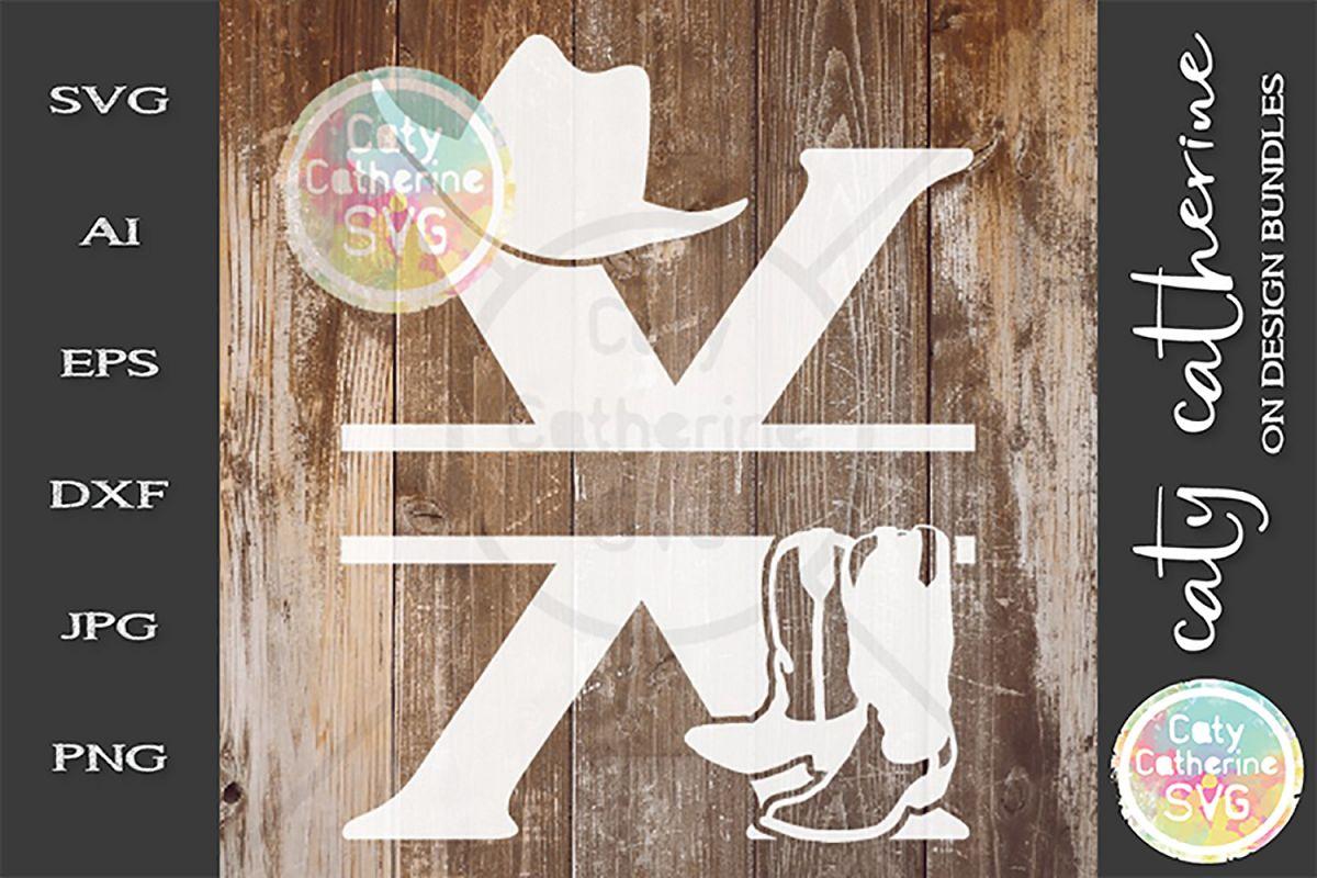 Letter X Cowboy Monogram SVG Includes Cowboy Boots example image 1