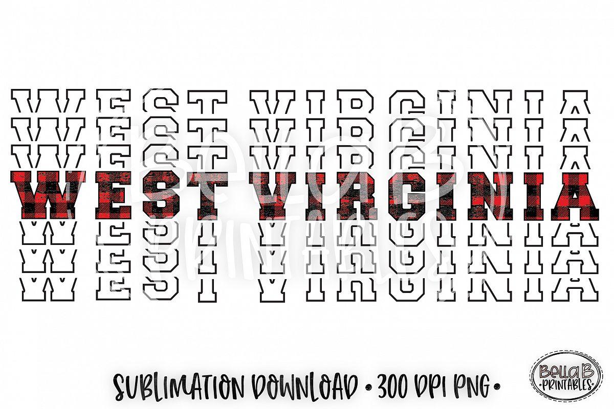 West Virginia Sublimation Design, Buffalo Plaid, Mirrored example image 1