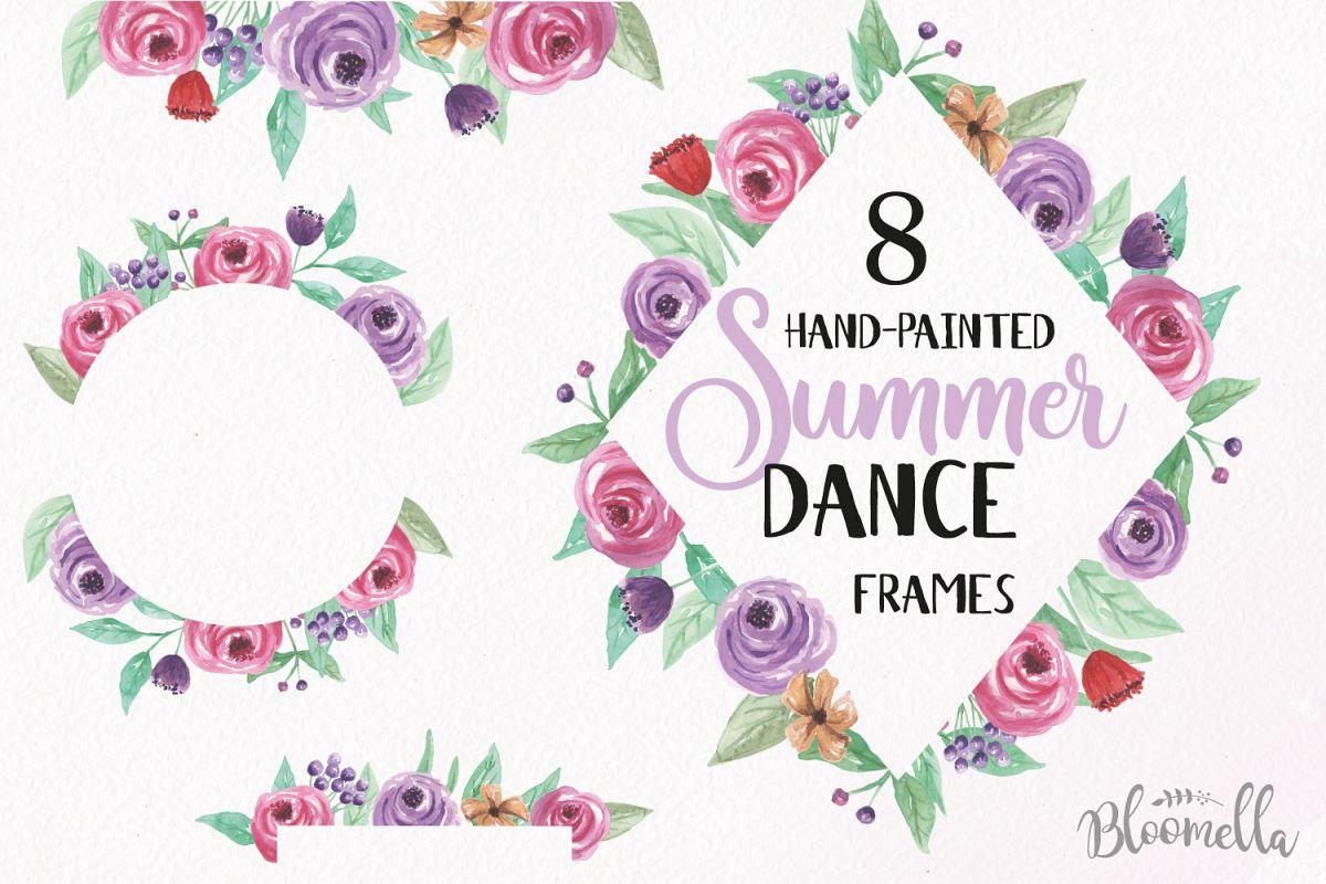 Summer Dance Frames Watercolor Purple Pretty Clipart Border Flowers ...
