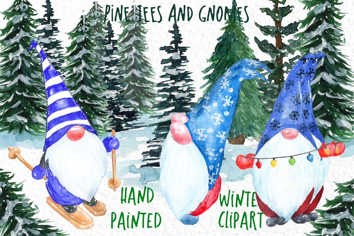 Watercolor Pine Trees clipart Scandinavian Gnome clipart example image 1