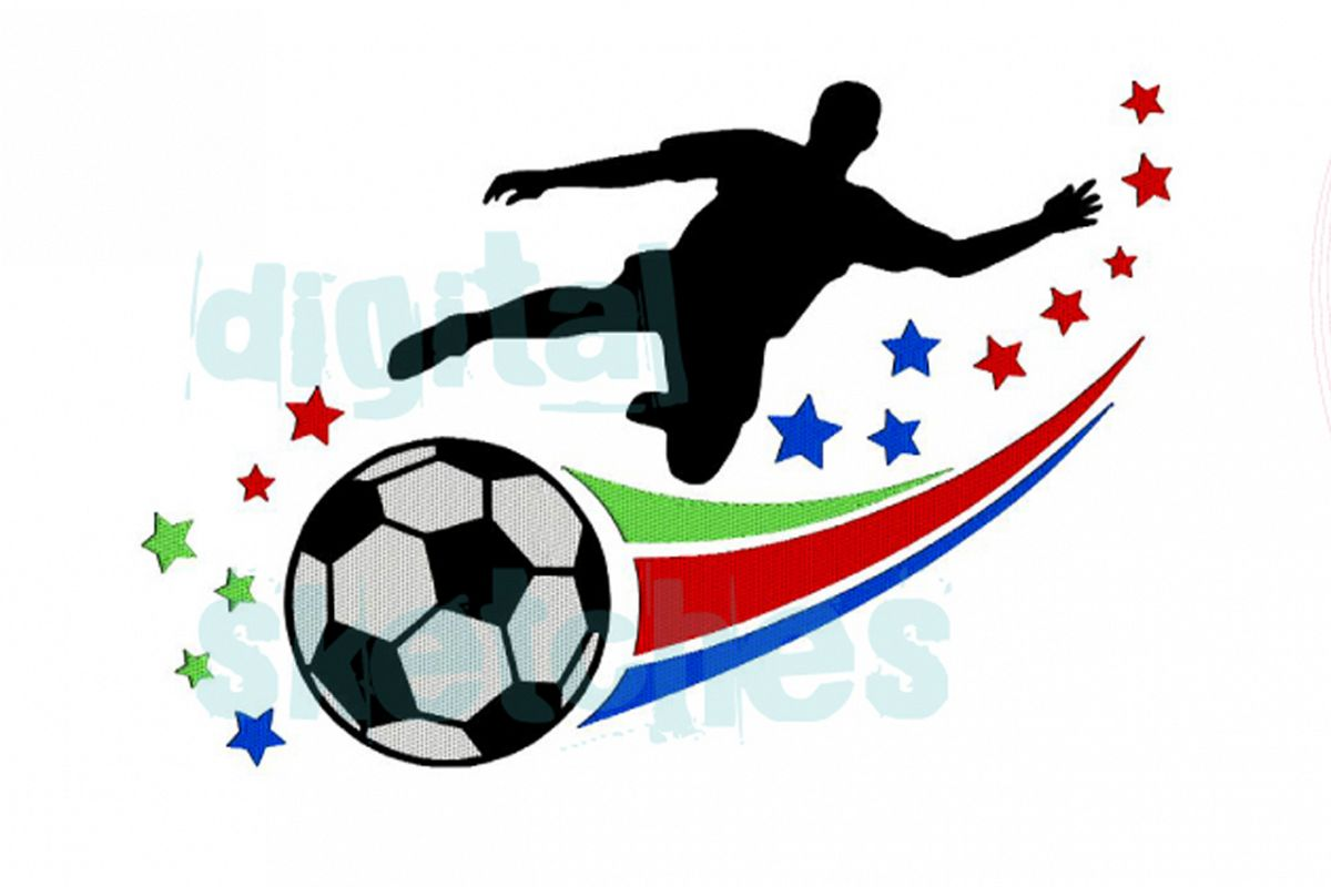 Soccer Player Machine Embroidery Design 3 Sizes example image 1