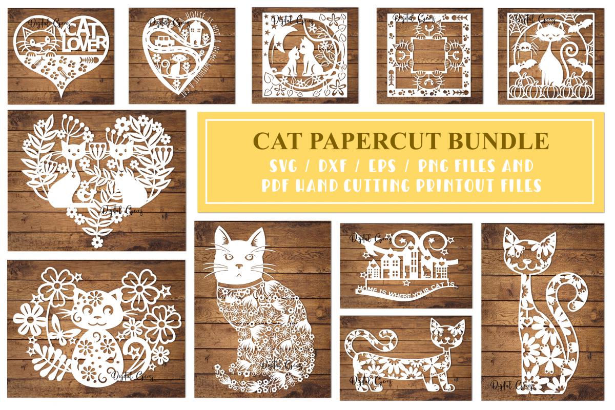 Cat paper cut Bundle. SVG / DXF / EPS / PNG example image 1