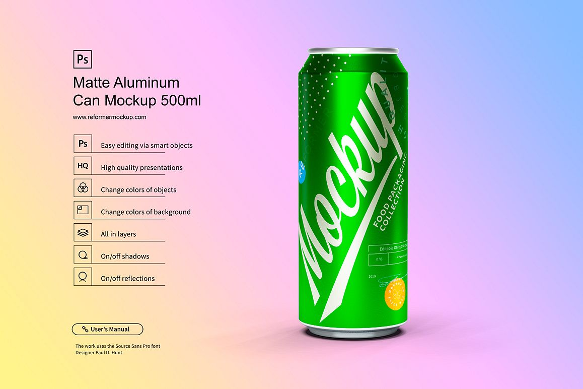 Matte Aluminum Can Mockup 500ml example image 1