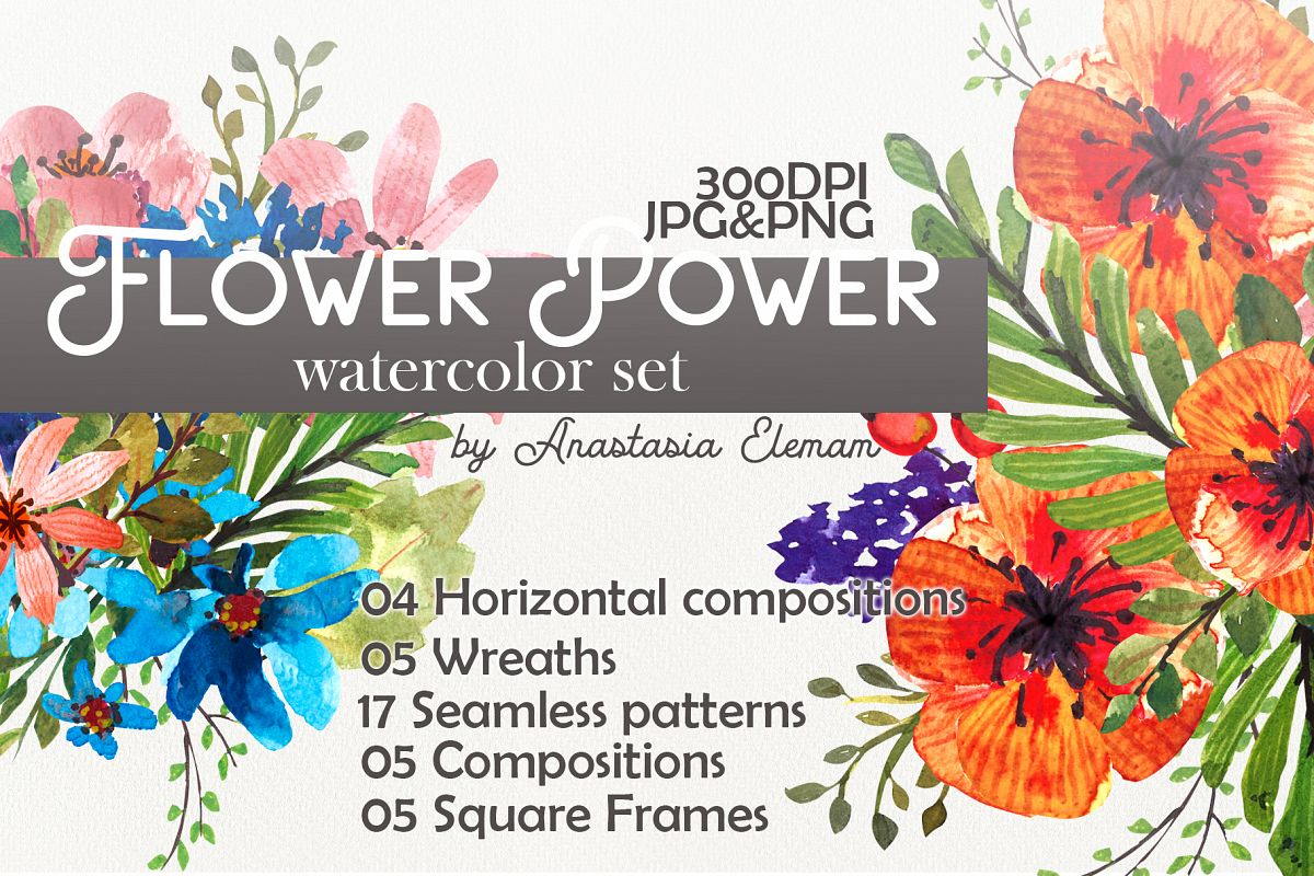 Flower Power watercolor pack set with frames wreath patterns example image 1