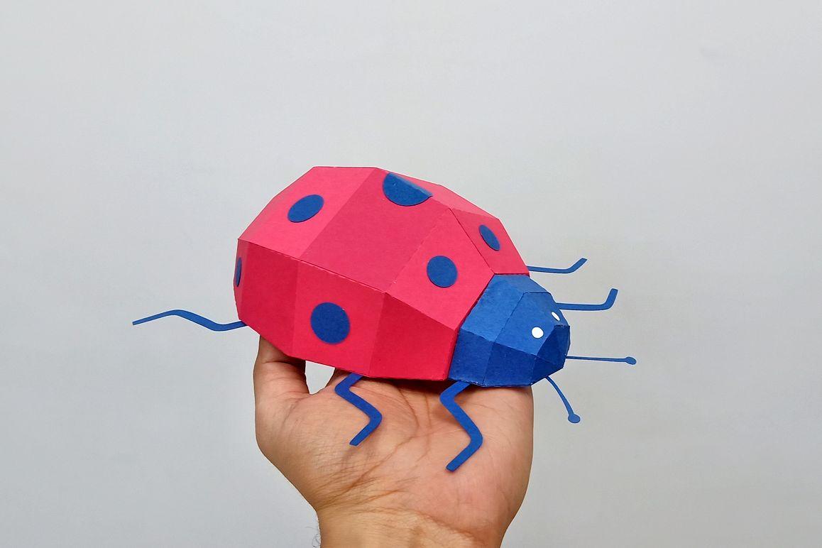 DIY Papercraft Ladybug,Lady bug,Lady beetle,Ladybug svg,dxf example image 1