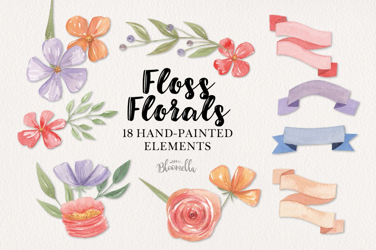 Floss Florals 18 Watercolor Elements Red Purple Flowers example image 1