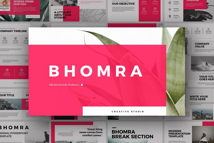Bhomra Minimal Powerpoint Presentation Template example image 1