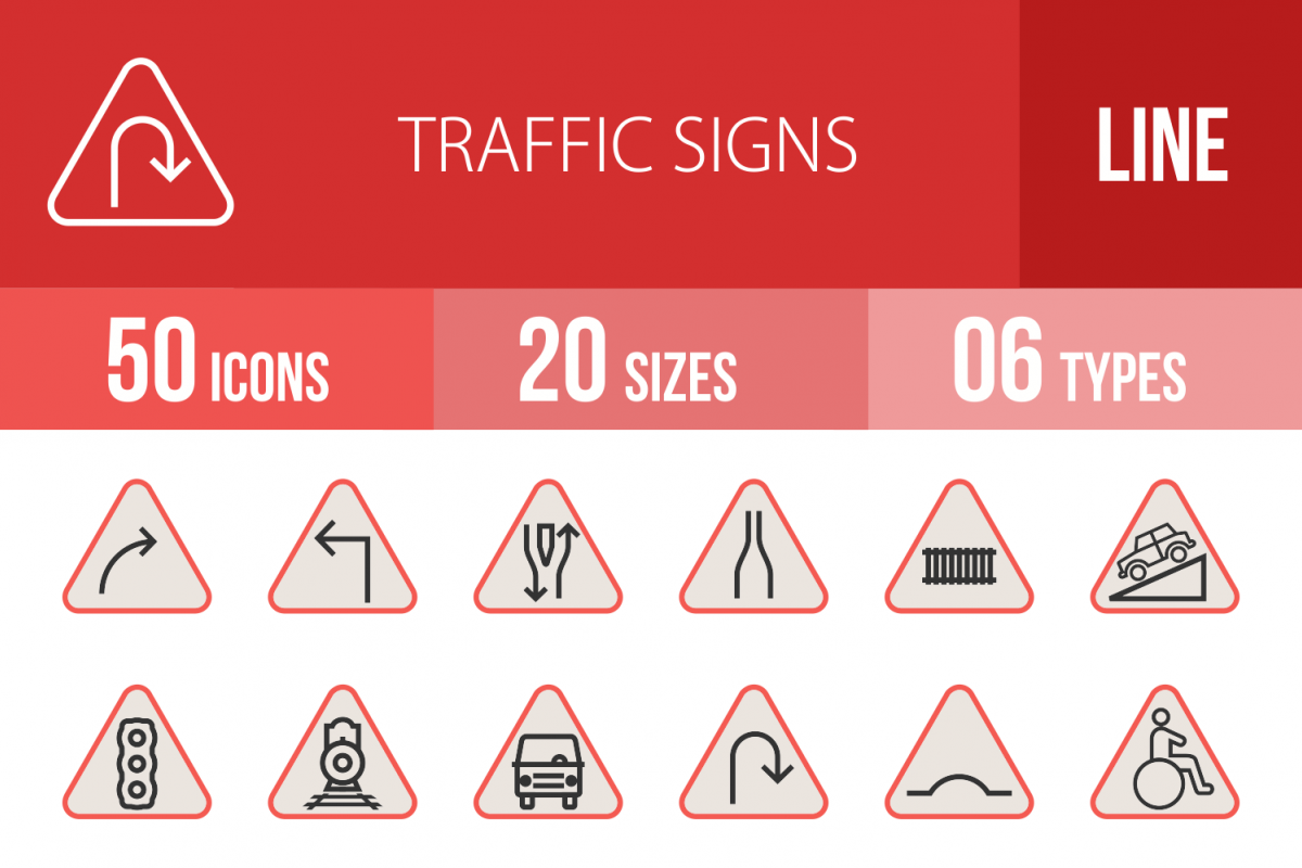 50 Traffic Signs Linear Multicolor Icons example image 1