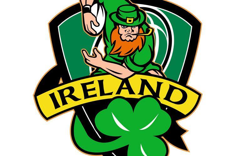 Irish leprechaun rugby player ball shamrock example image 1