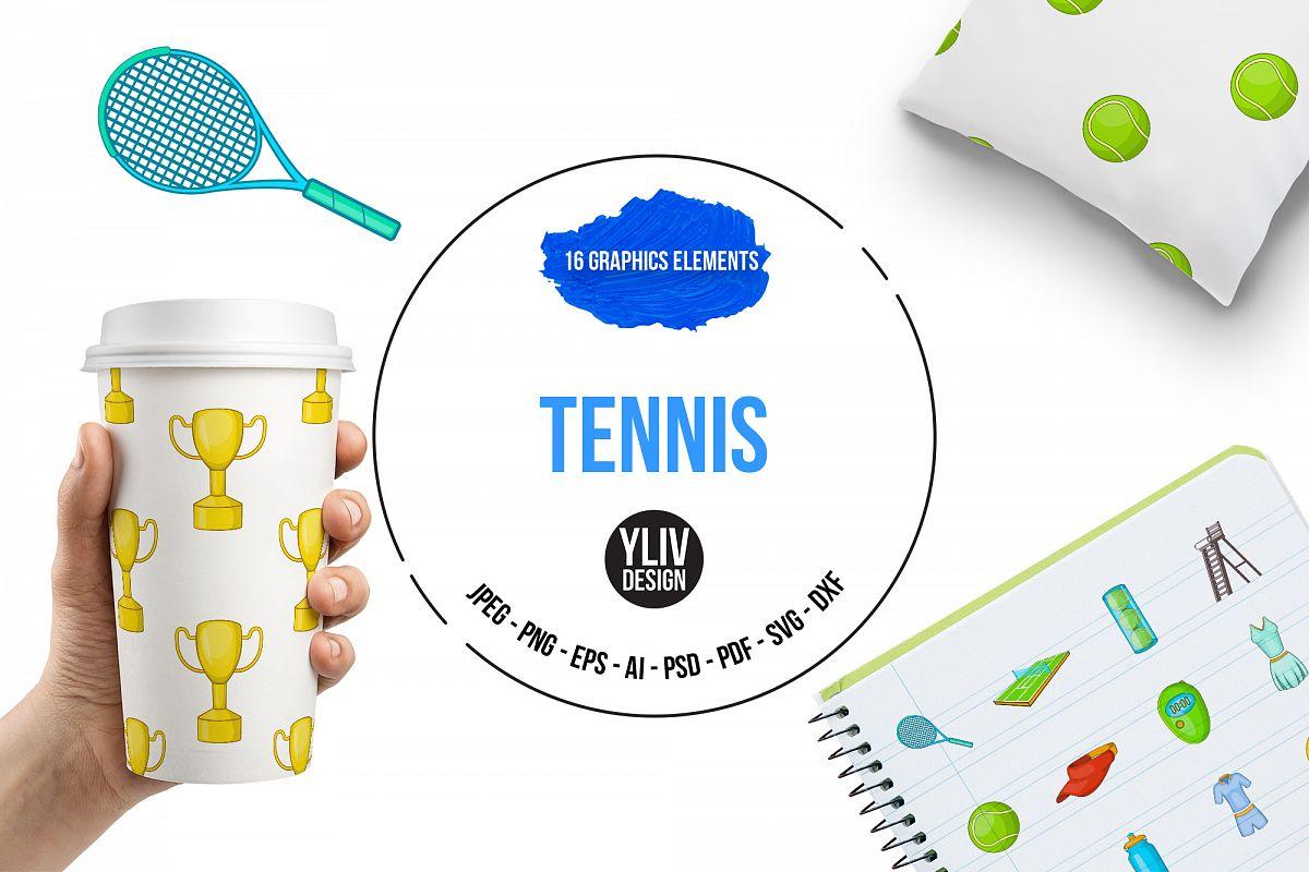 Tennis icons set, cartoon style example image 1