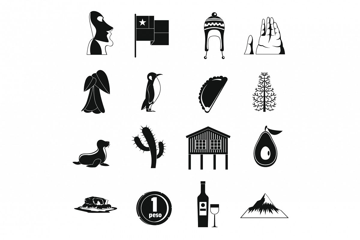 Cjile travel icons set, simple style example image 1