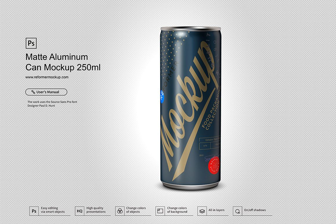 Matte Aluminum Can Mockup 250ml example image 1