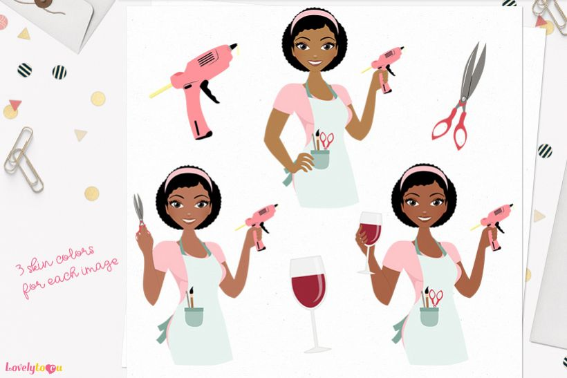 Woman crafts character clip art L166 Neve example image 1