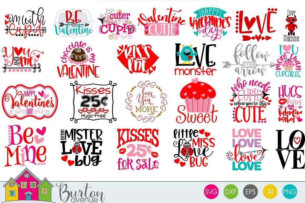 Hugs and Kisses Valentine SVG Bundle example image 1
