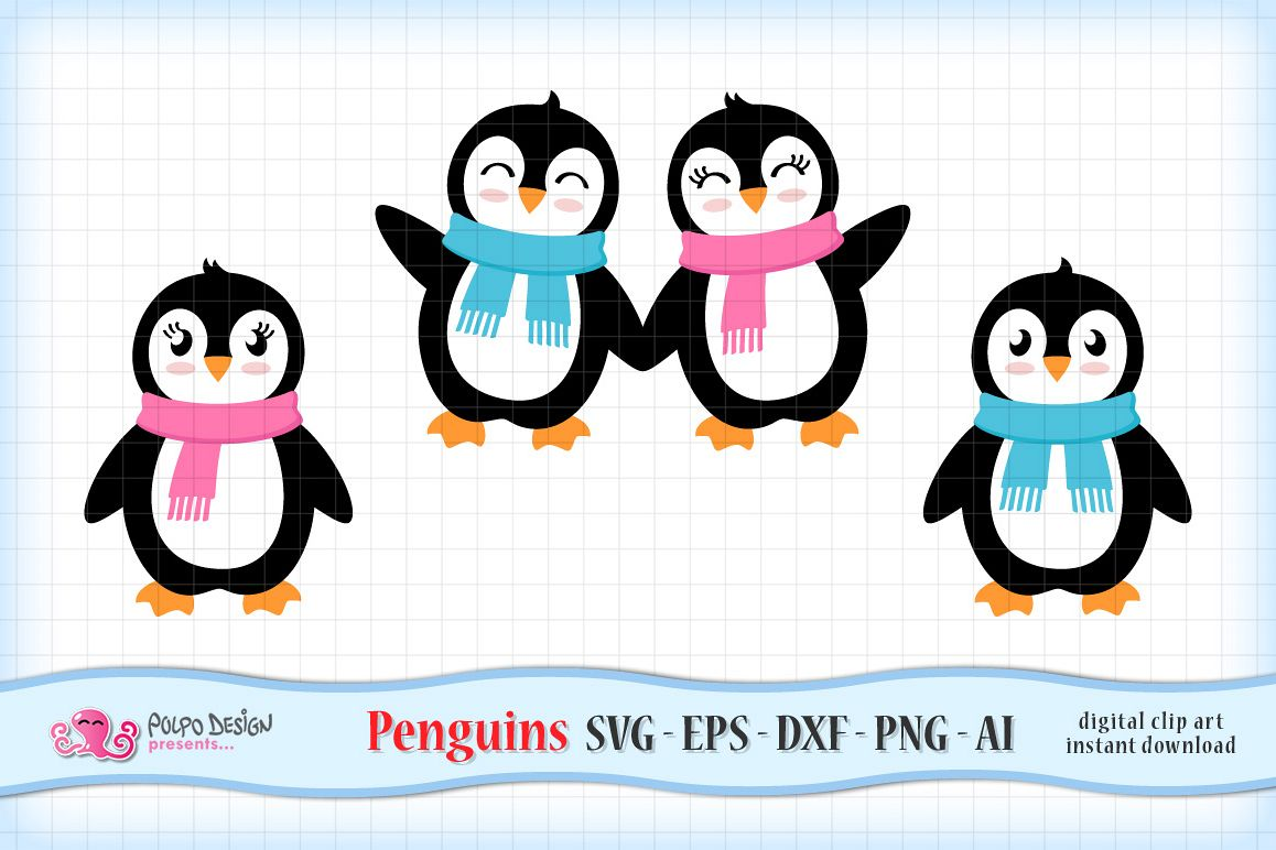 Girl and Boy Penguins SVG example image 1