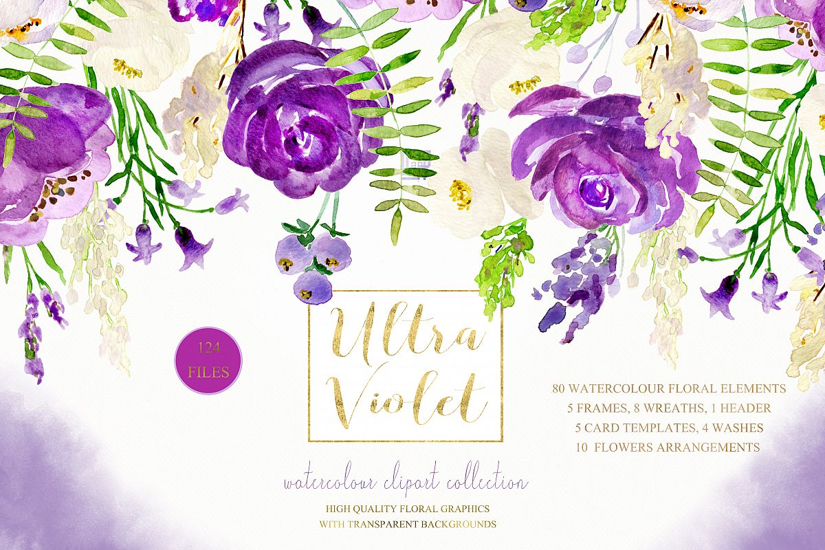 Ultra Violet Watercolor Flowers Example Image