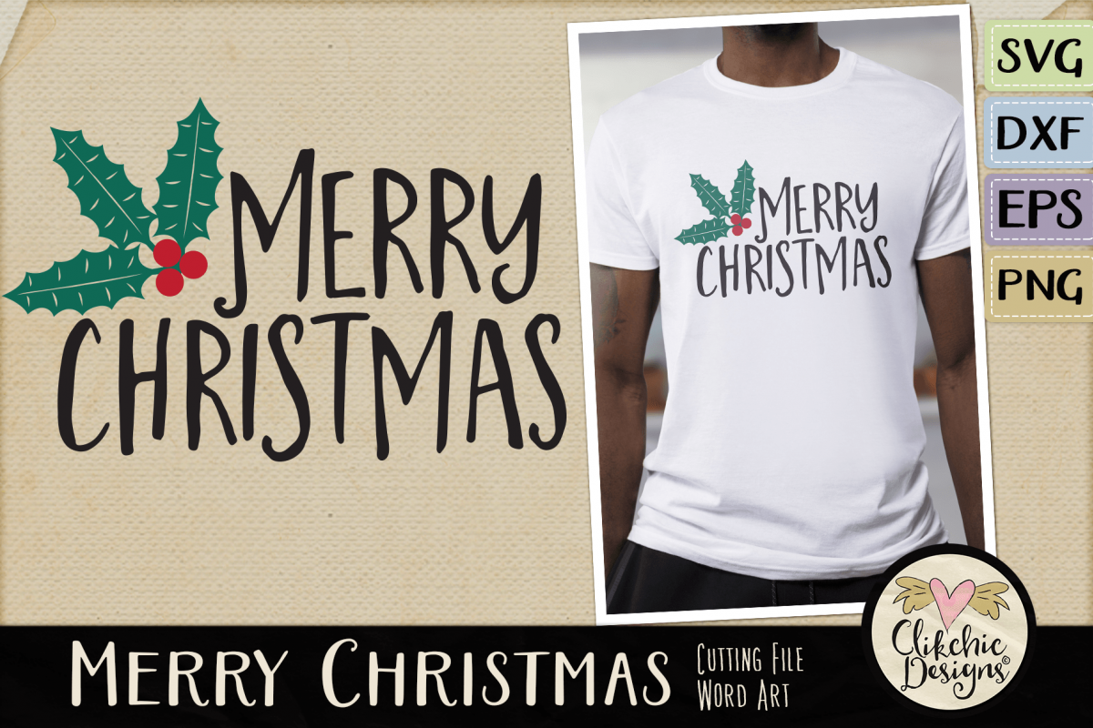 Merry Christmas SVG & DXF Cutting file Word Art example image 1