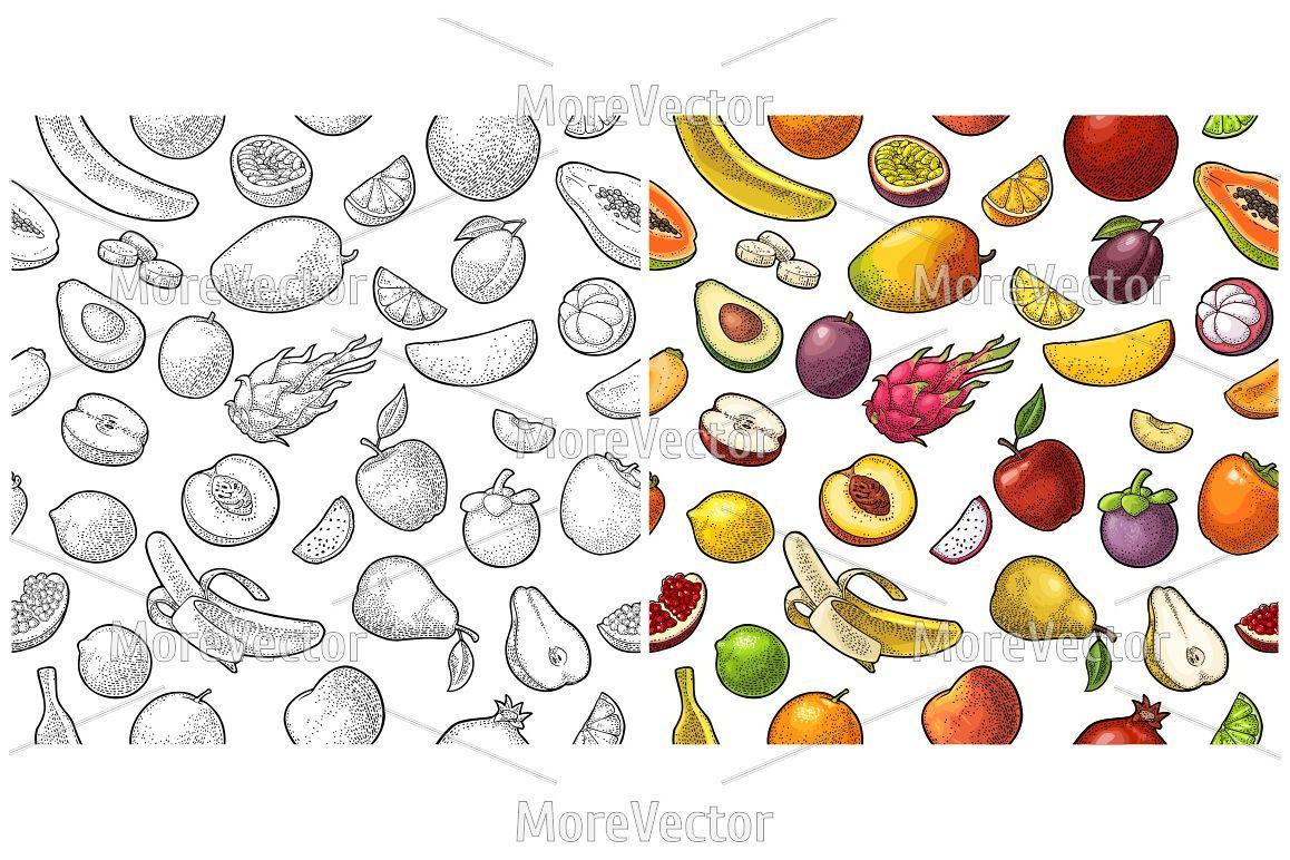 Seamless pattern fruits.  Engraving  example image 1