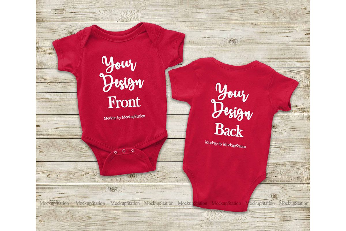 Red Front & Back Baby Bodysuit Mockup, Toddler Mock Up example image 1