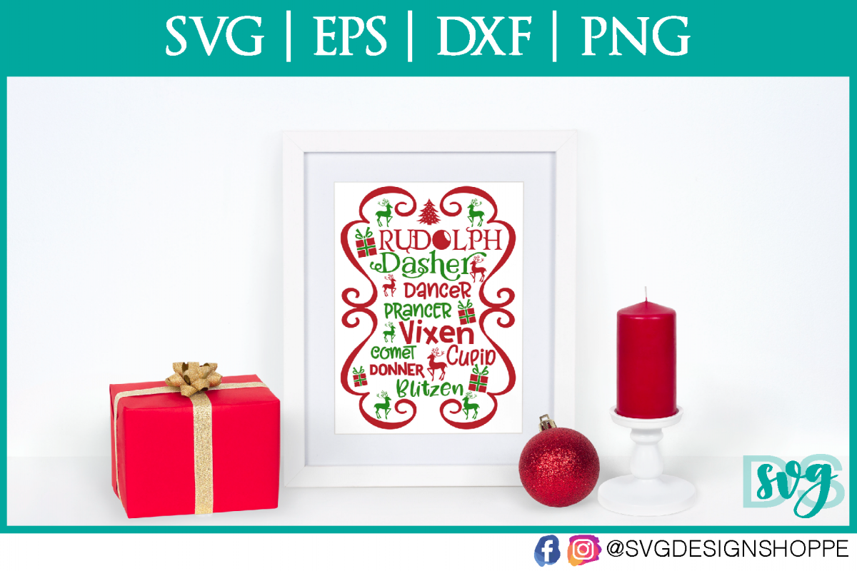 Christmas, Reindeer, SVG, Cricut Designs, DXF, PNG example image 1