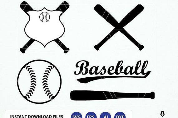 Baseball SVG cut file. Baseball bat, Softball, sports svg, dxf, eps files. Baseball vector art. Baseball Clipart example image 1
