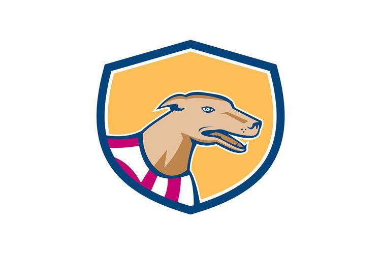 Greyhound Dog Head Side Shield Retro example image 1