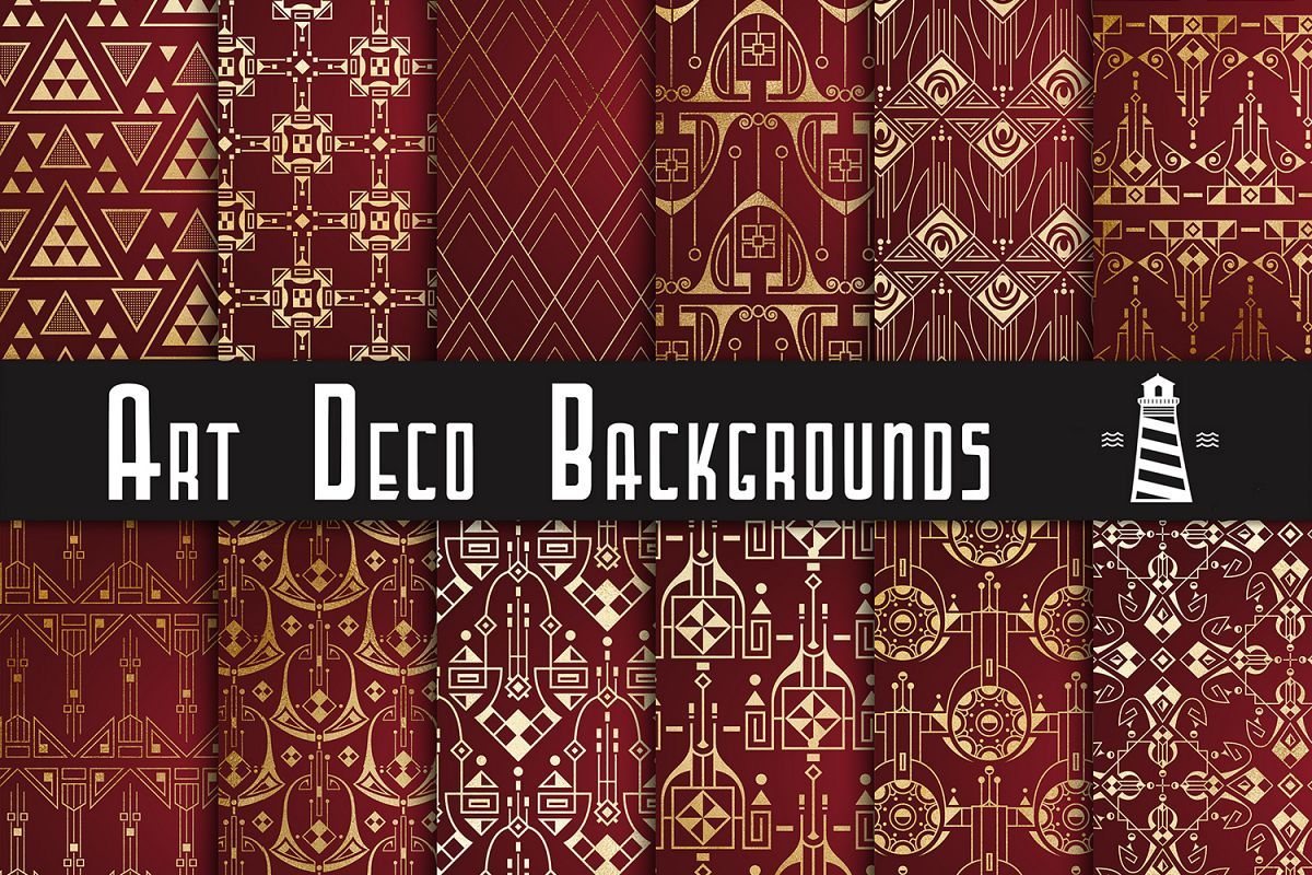 Gold Art Deco Backgrounds example image 1