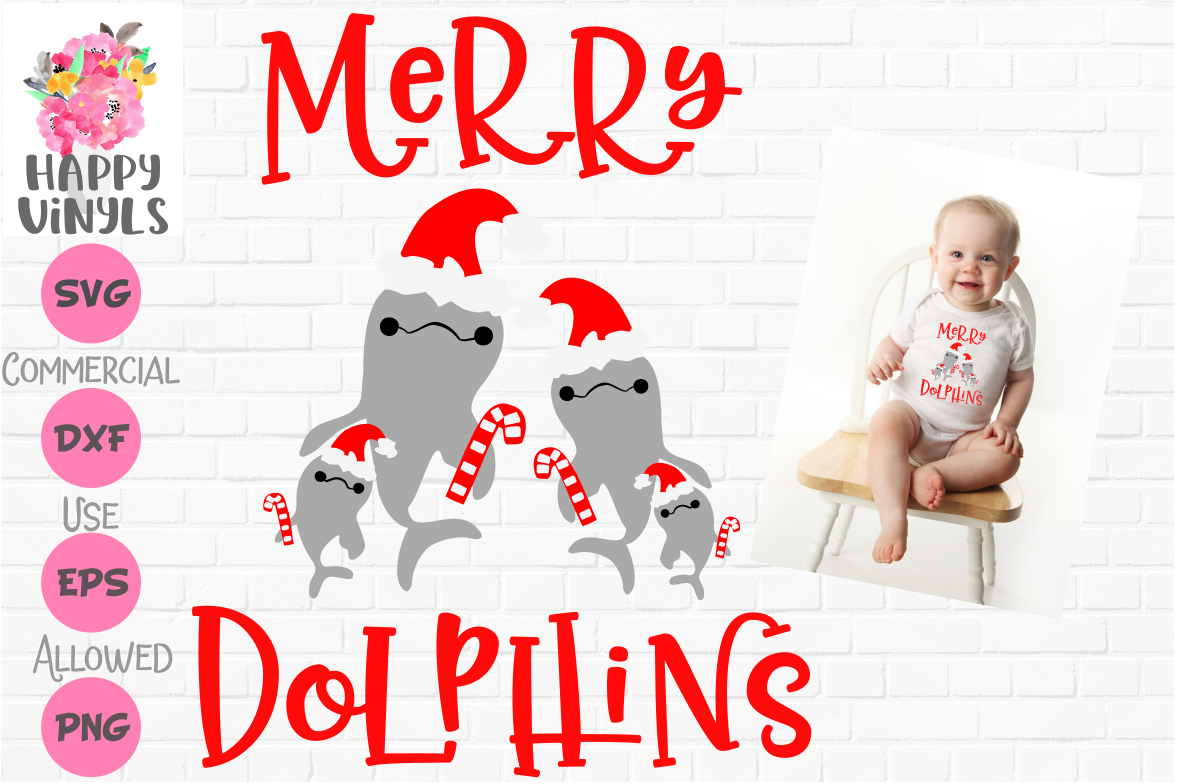 INTRO PRICED LIMITED TIME! Christmas SVG Baby Dolphin Family example image 1
