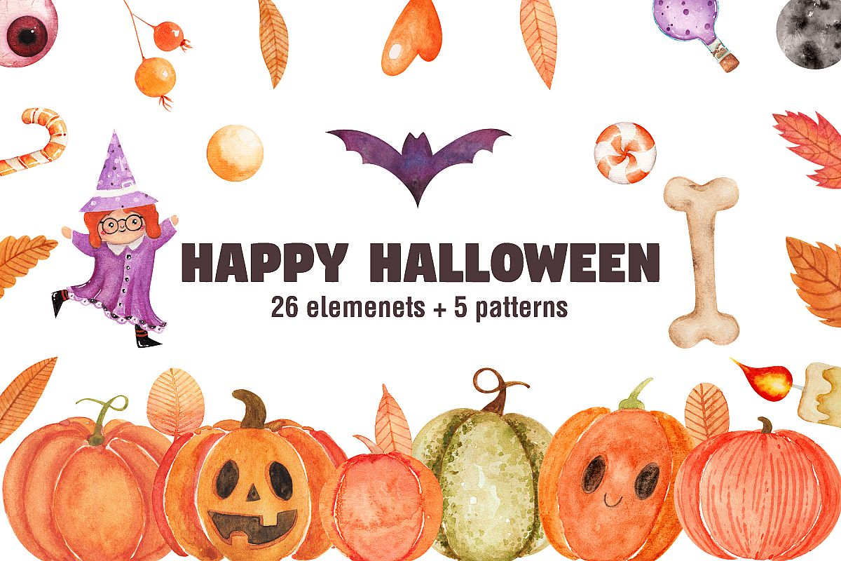 Hand painted Watercolor Halloween Party Fall Set pumpkins example image 1