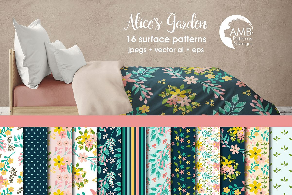 Alicesgarden alices garden patterns, floral papers amb-1834