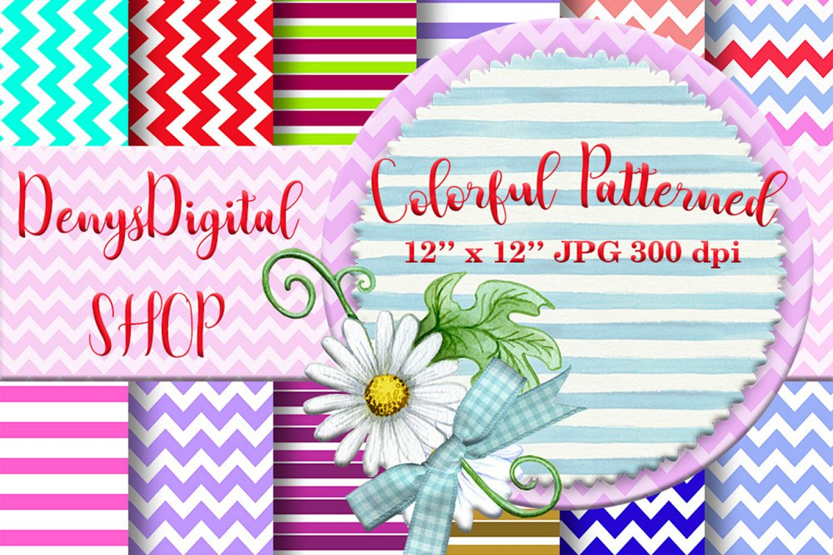 Colorful patterned, Striped Papers, Patterned, BLACK FRIDAY example image 1