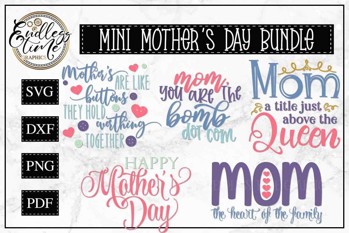 Mini Mother's Day Bundle - 5 Mother's Day Designs example image 1